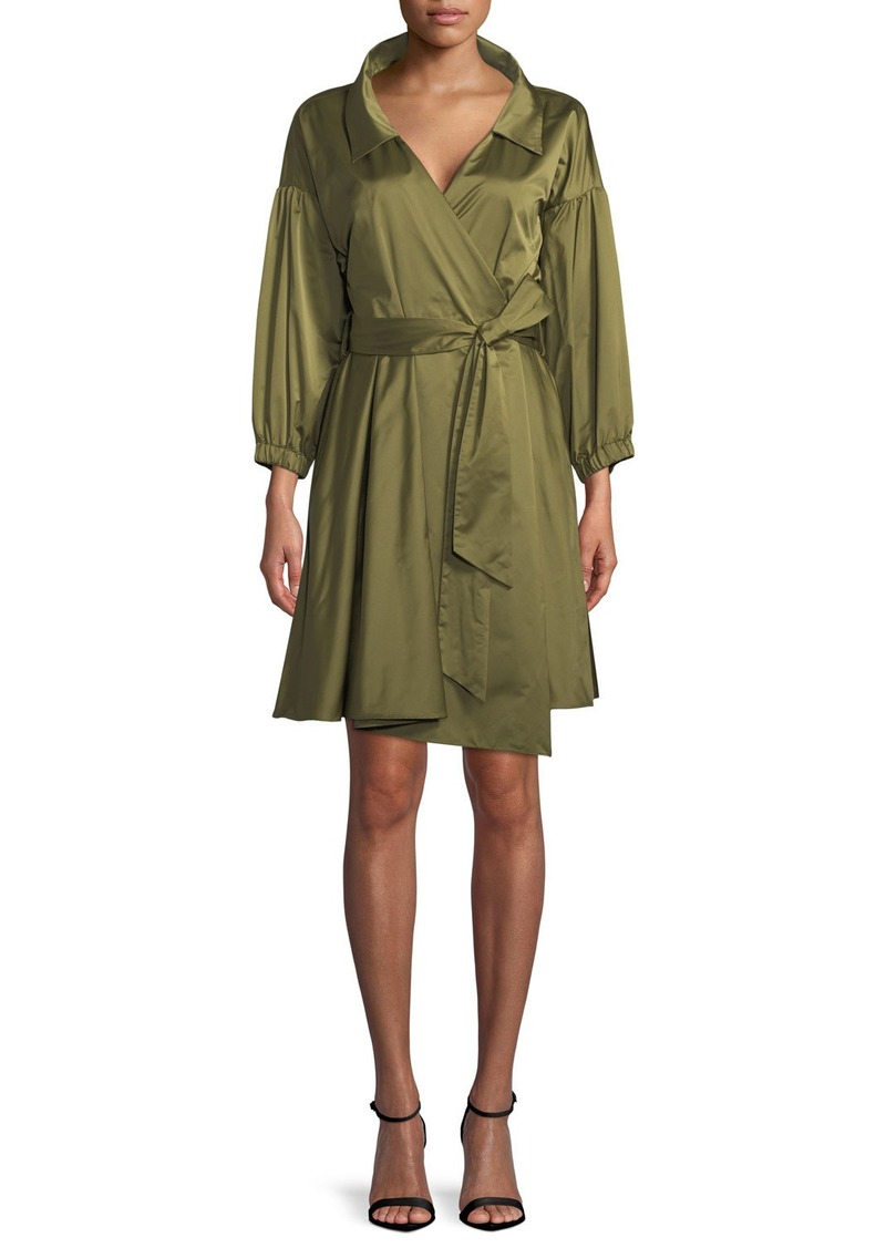 Milly Italian Ss Taffeta Wrap Dress