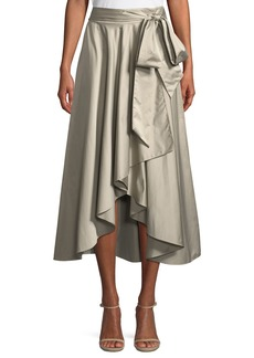 Milly Italian Duchess Taffeta Wrap Skirt