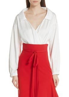 Milly Italian Duchess Taffeta Wrap Top Bodysuit
