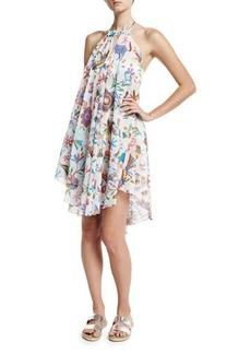 Milly Italian Folkloric Tahiti Floral-Print Halter Coverup Dress