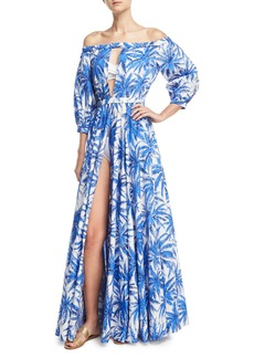 Milly Jenny Off-the-Shoulder Slit Front Floral-Print Maxi Coverup Dress