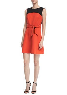 Milly Jenny Stretch-Crepe Combo Dress