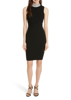 Milly Jewel Collar Sheath Dress
