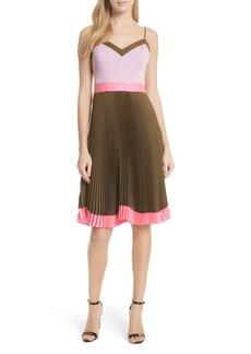 Milly Jill Pleated Stretch Silk Dress