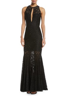 Milly Joan Stretch Lace Cap-Sleeve Gown