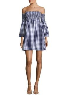 MILLY Jodi Off-The-Shoulder Gingham Cotton Poplin Dress