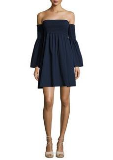 Milly Jodi Smocked Off-the-Shoulder Poplin Dress