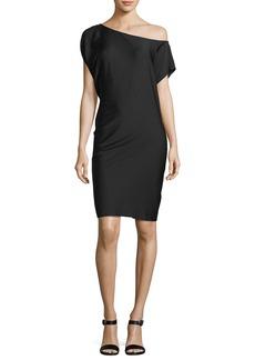Milly Julena One-Shoulder Silk Crepe Dress