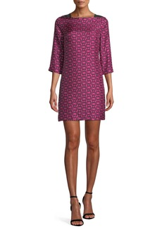 Milly Julia Boat-Neck 3/4-Sleeve Chain-Print Twill Dress