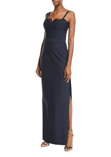 Milly Karissa Sleeveless Lace-Trim Column Gown