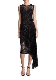 MILLY Katia Asymmetrical Sequin Tulle Dress