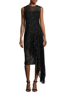 Milly Katia Sleeveless Asymmetric Sequined Tulle Sheath Dress