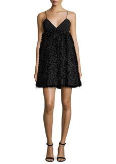 Milly Katie Sleeveless Mixed-Media Mini Dress