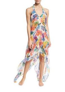 Milly Katrina Banana Leaf Chiffon Coverup Dress