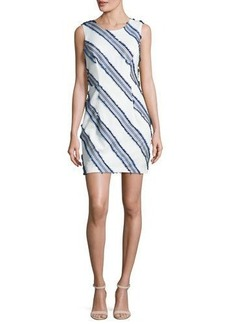 Milly Kendra Diagonal-Striped Mini Sheath Dress