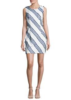 Milly Kendra Diagonal-Striped Mini Sheath Dress