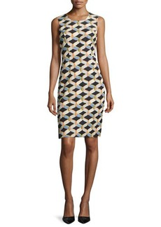 Milly Kendra Sleeveless Chain-Print Faille Sheath Dress