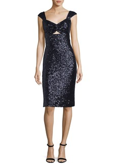Milly Kim Sleeveless Sweetheart-Neck Sequined Cocktail Dress
