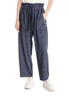 Milly Kori Denim-Print Stretch Crepe Pants