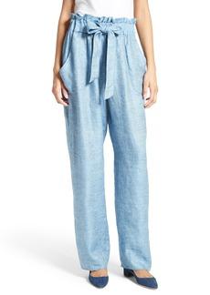 Milly Kori Gathered Linen Blend Twill Pants