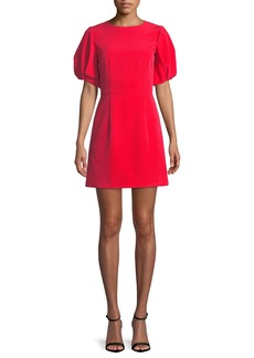 Milly Kyle Italian Cady Puff-Sleeve Dress