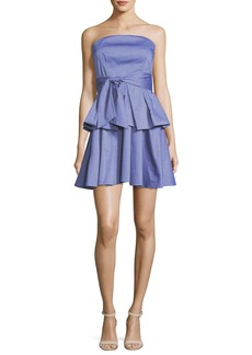Milly Kylie Strapless Ruffled Shirting Dress