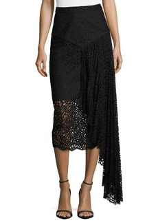 Milly Lace Pencil Midi Skirt w/ Side Cascade