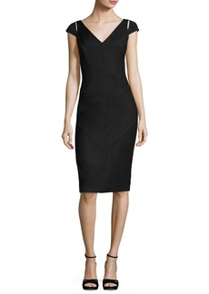Milly Larissa Short-Sleeve Italian Gabardine Sheath Dress