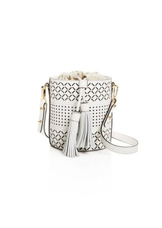 MILLY Laser Cut Leather Bucket Bag