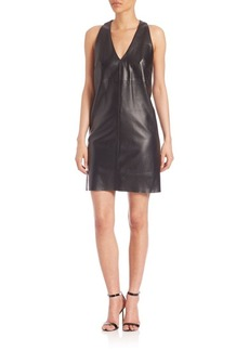 MILLY Leather Shift Dress
