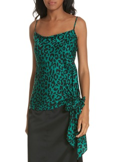 Milly Leopard Print Tie Waist Silk Jacquard Camisole
