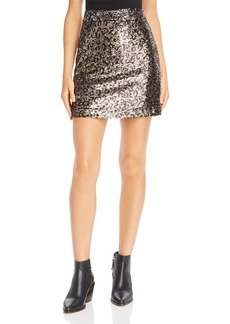 MILLY Leopard Sequin Modern Mini Skirt