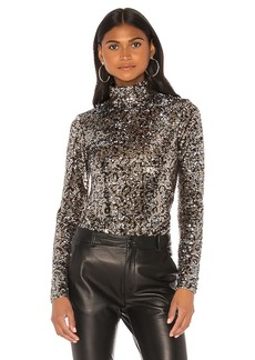 MILLY Leopard Sequins Turtle Neck