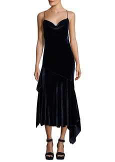 Milly Lienne Strappy Panne Velvet Dress