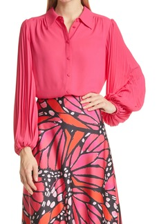 Milly Lina Pleated Button-Up Blouse