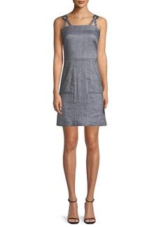 Milly Linen-Blend Stretch-Denim Apron Dress