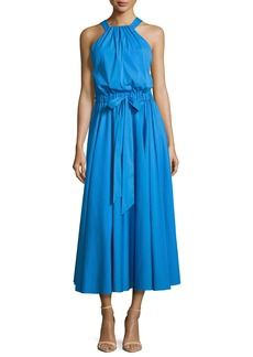 Milly Lizzy Sleeveless Self-Tie Poplin Midi Dress