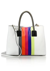 MILLY Logan Striped Leather Tote