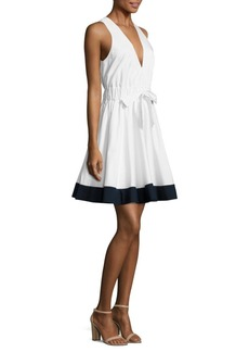MILLY Lola Fit-&-Flare Poplin Dress