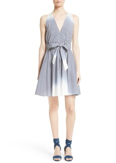 Milly Lola Ombré Stripe Belted Fit & Flare Dress