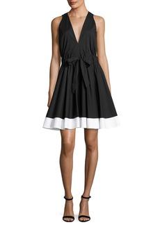 Milly Lola Sleeveless Colorblocked Poplin Dress
