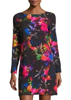 Milly Long-Sleeve Floral-Print Shift Dress