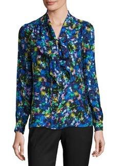 Milly Long-Sleeve Jewel-Print Satin Chiffon Tie-Neck Blouse