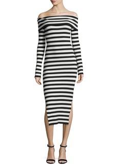 Milly Long-Sleeve Off-Shoulder Rib Dress