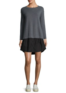 Milly Long-Sleeve Removable Shirting Knit Dress