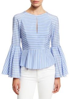 Milly Luna Striped Bell-Sleeve Peplum Blouse