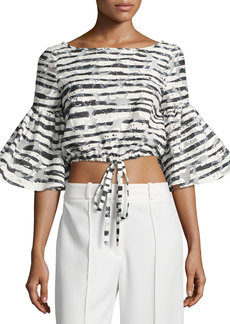 Milly Lydia Floral Striped Burnout Crop Top