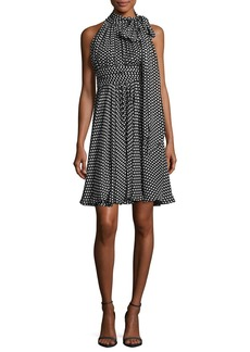 Milly Lydia Tie-Neck Dot-Print Silk Georgette Dress