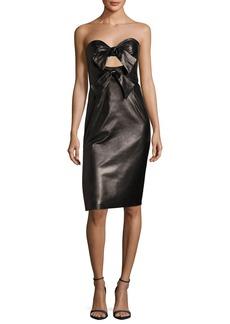 Milly Mackenzie Lightweight Lambskin Leather Sweetheart Dress