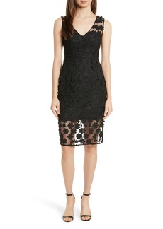 Milly Mari Floral Appliqué Sheath Dress